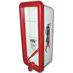 CATO FIRE EXTINGUISHER BOX FOR 2-1/2LB - 5LB, WH/RED