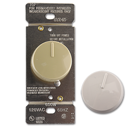 Picture of PUSH ON/OFF ROTARY DIMMER SWITCH - IVORY & WHITE