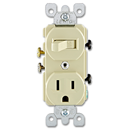 Picture of SWITCH RECEPTACLE COMBO - IVORY
