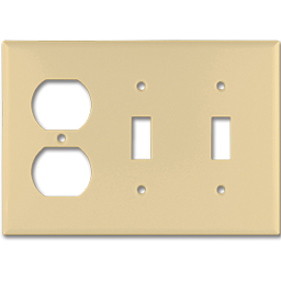 Picture of STANDARD DUPLEX RECEPTACLE/2-GANG SWITCH PLATE - IVORY