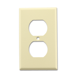 Picture of METAL RECEPTACLE WALL PLATE WRINKLE FINISH - IVORY