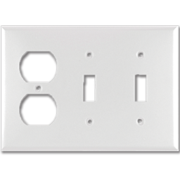 STANDARD DUPLEX RECEPTACLE/2-GANG SWITCH PLATE - WHITE