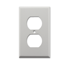 Picture of METAL RECEPTACLE WALL PLATE WRINKLE FINISH - WHITE