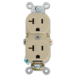 Picture of 20AMP DUPLEX RECEPTACLE - WHITE