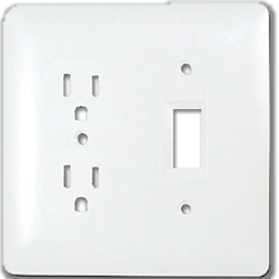 Picture of TAYMAC MASQUE DUPLEX RECEPTACLE/SWITCH WALL PLATE  - WHITE
