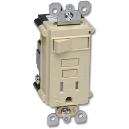 Picture of COMBINATION 15AMP SELF TEST GFCI RECEPTACLE/SWITCH - IVORY