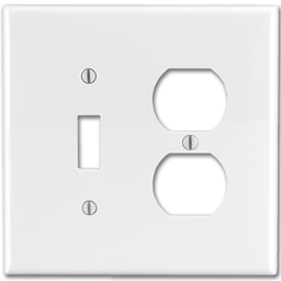Picture of MIDI DUPLEX RECEPTACLE/SWITCH PLATE - WHITE