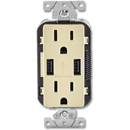 Picture of 15AMP TAMPER RESISTANT USB CHARGER & DUPLEX RECEPTACLE - IVORY