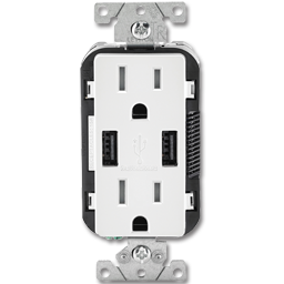 Picture of 15AMP TAMPER RESISTANT USB CHARGER & DUPLEX RECEPTACLE - WHITE