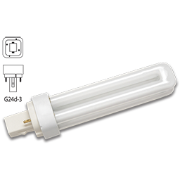 Picture of 26 WATT DOUBLE TUBE 2 PIN COMPACT FLUORESCENT BULB - G24D-3 WITH DIAGONAL PINS  - COOL WHITE