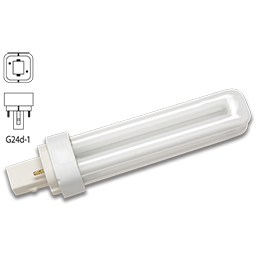 Picture of 13 WATT DOUBLE TUBE 2 PIN COMPACT FLUORESCENT BULB - G24D-1 BASE WITH DIAGONAL PINS - WARM WHITE