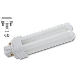 Picture of 9 WATT DOUBLE TUBE 2 PIN COMPACT FLUORESCENT BULB - G23-2 BASE WITH STRAIGHT PINS - WARM WHITE