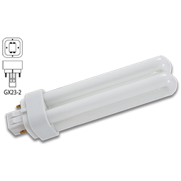 Picture of 13 WATT DOUBLE TUBE 2 PIN COMPACT FLUORESCENT BULB - GX23-2 BASE WITH STRAIGHT PINS - WARM WHITE