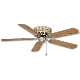 "Picture of 52"" HUGGER CEILING FAN, 5 BLADES - ANTIQUE BRASS"