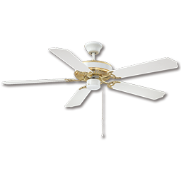 "Picture of 52"" DUAL MOUNT CEILING FAN, 5 BLADES - WHITE/POLISHED BRASS"