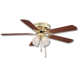 "Picture of 52"" HUGGER BRILLIANTE CEILING FAN WITH LIGHT KIT, 5 BLADES - POLISHED BRASS"