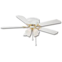 "Picture of 52"" HUGGER BRILLIANTE CEILING FAN WITH LIGHT KIT, 5 BLADES - WHITE"