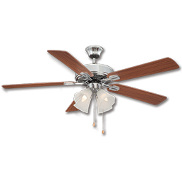 "Picture of 52"" DUAL MOUNT WINDSONG CEILING FAN WITH LIGHT KIT, 5 BLADES -CHROME"