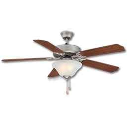 """Picture of 52"""" CEILING FAN SATIN PEWTER W/LIGHT KIT W/MAHOGANY/LIGHT MAPLE BLADES"""
