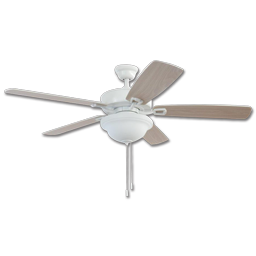 "Picture of 52"" TWIST LOCK EASY INSTALL CEILING FAN - WHITE WITH LIGHT KIT"