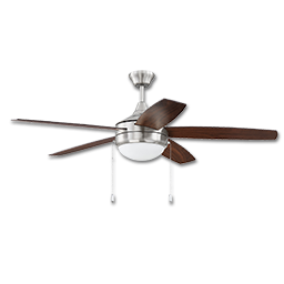 "Picture of 52"" 5-BLADE TRI MOUNT BRUSHED NICKEL CEILING FAN W/LED LED LIGHT KIT"