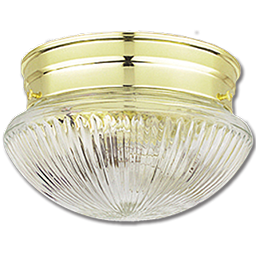 "Picture of 6"" CLEAR RIBBED MUSHROOM FIXTURE - POLISHED BRASS"