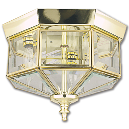 "Picture of 8"" 3-LIGHT OCTAGONAL CEILING FIXTURE - POLISHED BRASS"