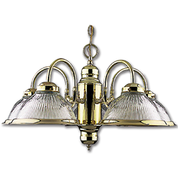 Picture of 5-LIGHT HALOPHANE CHANDELIER CLEAR PRISM GLASS - POLISHED BRASS