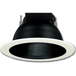 "Picture of 6"" WHITE RECESSED LIGHT TRIM WITH BLACK BAFFLE"