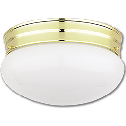 "Picture of 10"" MUSHROOM FIXTURE - WHITE WITH POLISHED BRASS BASE"