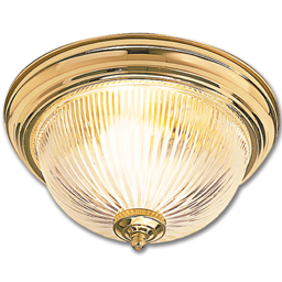 """Picture of 13"""" CEILING LIGHT FIXTURE WITH CLEAR RIBBED GLASS - POLISHED BRASS"""
