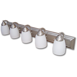 """Picture of 36"""" 5-LIGHT FROSTED GLASS SATIN NICKEL VANITY FIXTURE"""