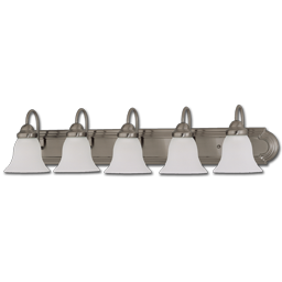 "Picture of 36"" 5-LIGHT FROSTED BELL GLASS SATIN NICKEL VANITY FIXTURE"