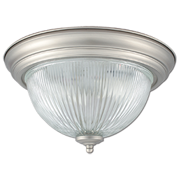 """Picture of 13"""" CEILING LIGHT FIXTURE WITH CLEAR RIBBED GLASS - SATIN NICKEL"""