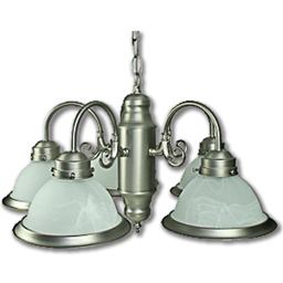 Picture of 5-LIGHT CHANDELIER W/ALABASTER GLASS - SATIN NICKEL