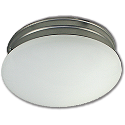 """Picture of 10"""" MUSHROOM FIXTURE - WHITE WITH SATIN NICKEL BASE PAN"""