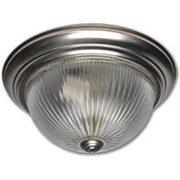 """Picture of 11"""" CLEAR RIBBED GLASS FIXTURE - SATIN NICKEL"""