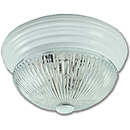 """Picture of 11"""" CLEAR RIBBED GLASS FIXTURE - WHITE"""