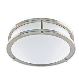 """12"""" LED 2 RING CEILING FLUSH MOUNT FIXTURE - FLAT FACE - SATIN NICKEL WITH WHITE LENS"""