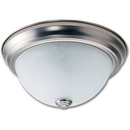 """Picture of 11"""" CEILING FIXTURE SATIN NICKEL WITH ALABASTER GLASS"""