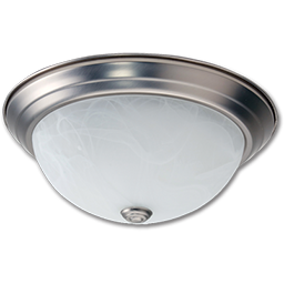 """Picture of 13"""" CEILING FIXTURE SATIN NICKEL WITH ALABASTER GLASS"""