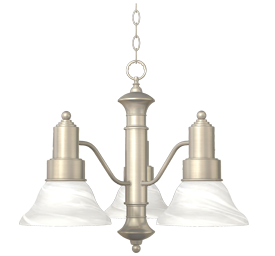 Picture of 3-LIGHT CHANDELIER - BRUSHED NICKEL WITH ALABASTER GLASS