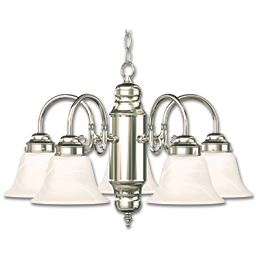 Picture of 5-LIGHT CHANDELIER - BRUSHED NICKEL WITH ALABASTER GLASS