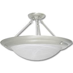 "Picture of 20"" SEMI-FLUSH PENDANT - BRUSHED NICKEL W/ALABASTER GLASS"