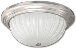 "Picture of 13"" FLUORESCENT MELON FIXTURE - WHITE WITH FROSTED MELON RIBBED GLASS"