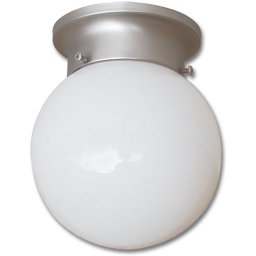"""Picture of 6"""" OPAL FLUORESCENT GLOBE FIXTURE - BRUSHED NICKEL WITH ALABASTER GLASS GU24 BASE"""