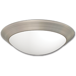 "Picture of 14"" FLUORESCENT CEILING FIXTURE - SATIN NICKEL WITH ALABASTER TWIST-ON GLASS"