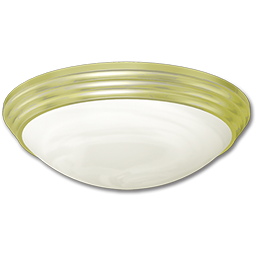 "Picture of 13"" FLUORESCENT CEILING FIXTURE - POLISHED BRASS WITH WHITE TWIST-ON DIFFUSER"