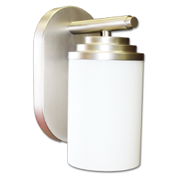 Picture of 13W FLUORESCENT WALL SCONCE - BRUSHED NICKEL WITH FROSTED WHITE CYLINDER GLASS