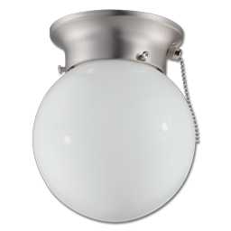 "Picture of 6"" HALLWAY CEILING FIXTURE W/PULL CHAIN - SATIN NICKEL"